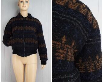 Vintage Womens 1990s Black Southwestern Pattern Zip Front Coat | Size M/L