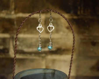 Silver Heart and Blue Bead Earrings
