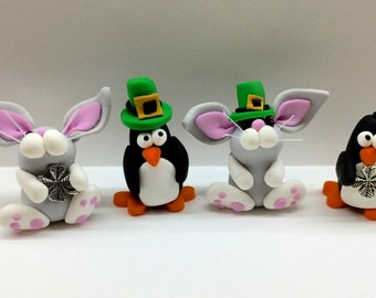 Polymer Clay Animals Celebrating St Patricks, Great Gift Ideas