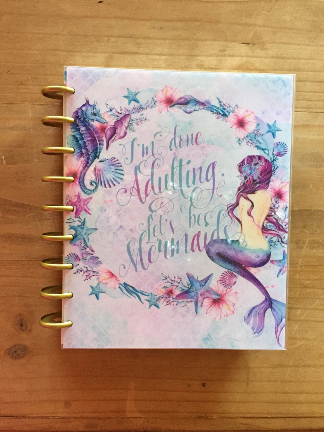 Mermaid happy planner cover front and back dashboard happy for Happy planner accessories