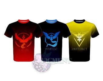 Pokemon Go: Team T-Shirt, Mystic, Instinct, Valor - red, yellow, blue, Gamer Shirt, Team Jersey, Custom Pokemon Shirt, Gift for Gamers