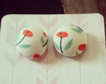 Handmade 15mm floral fabric button earrings