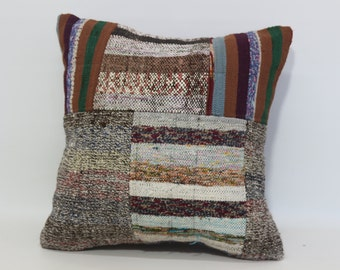 20x20 Handmade Patchwork Kilim Pillow 20x20 Decorative Vintage Kilim Pillow Cushion Cover Throw Pillow Bed Pillow SP5050-1079
