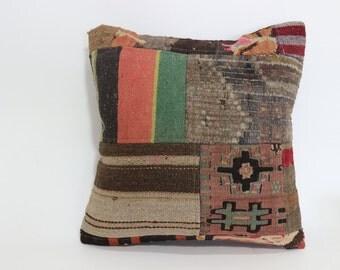 Turkish Patchwork Kilim Pillow 18x18 Decorative Kilim Pillow Home Decor Cushion Cover Turkish Cushion Cover Throw Pillow SP4545-1066