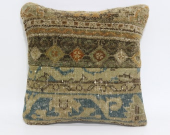 Turkish Pillow 16x16 Kilim Pillow Decorative Pillow Sofa Pillow Anatolian Pillow Handmade Pillow Vintage Pillow SP4040-1837