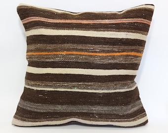 Bohemian Kilim Pillow Naturel Kilim Pillow Ethnic Pillow Cushion Cover 24x24 Turkish Kilim Pillow Handwoven Cushion Cover SP6060-1034