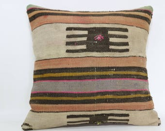 Throw Pillow Handwoven Kilim Pillow Sofa Pillow 16x16 Turkish Kilim Pillow Ethnic Pillow Anatolian Pillow Cushion Cover SP4040-2357