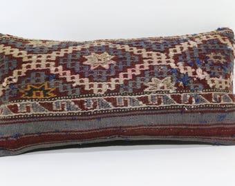 Embroidered Kilim Pillow Sofa Pillow Throw Pillow 10x20 Bohemian Kilim Pillow Ethnic Pillow 10x20 Decorative Kilim Pillow  SP3050-921