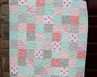 Baby Girl Quilt, Baby Blanket,Crib Quilt, Coral Pink and Gray Quilt, Aqua Quilt, Nursery Decor, Modern Baby Quilt, Ready to Ship