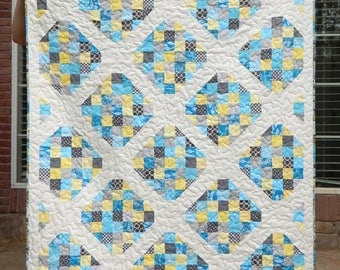 Modern Lap Quilt, Blue, Yellow, and Gray Quilt, Handmade Quilt, Blanket, Ready to Ship