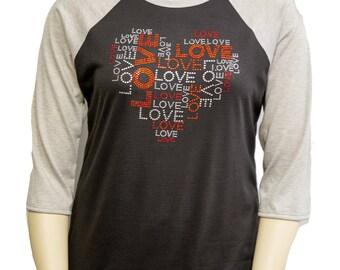 Love Heart Black & Grey Baseball Shirt