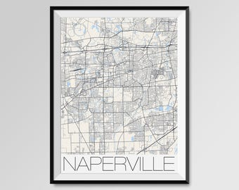 NAPERVILLE Illinois Map, Naperville City Map Print, Naperville Map Poster, Naperville Wall Map Art, Naperville gift, Custom city maps
