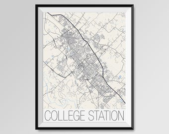 College Station Etsy - College station texas map