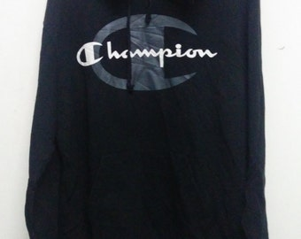 VINTAGE 90's Champion Hoodie Vintage Champion Big Logo Sweatshirt Champion Skateboard  Mens Size L