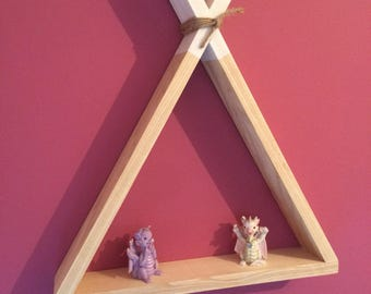 Childrens teepee shelves. Handmade childrens shelves tips painted in choice of colours. Boys room or girls room.