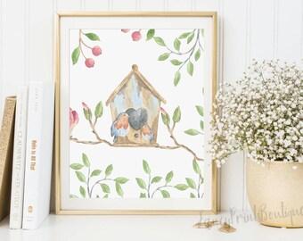 Bird Nursery Print, Bird Nursery Prints, Nursery Art Prints, Baby Girl Decor, bird art print art , Nursery Bird Wall Decor, Baby Girl Decor