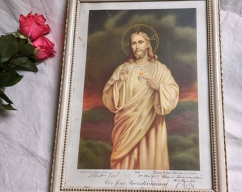 French Vintage First Communion Framed Print of Jesus