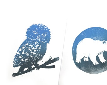 OWL and polar bear.  2 prints. Linocut / hand printed
