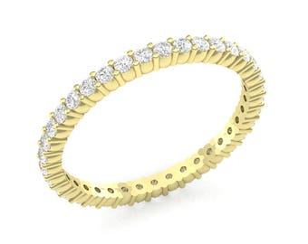 Yellow Gold Eternity Band Wedding Band 0.50ct Round Diamonds 36 1.5mm Diamond Shared Prong Band Engagement Band Brand New 14K Complete Piece