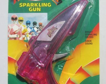 Might Morphin Power Rangers Purple Sparkling Gun Sealed Old Store Stock