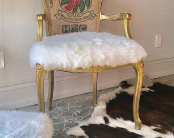 Vintage Louis XV Chair Updated With Faux Fur And Vintage Coffee Sack Arm  Chair Desk Chair