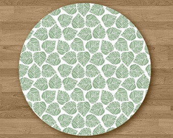 Tropical Leaf Pattern Round Mouse Pad Office Desk Accessories Gift
