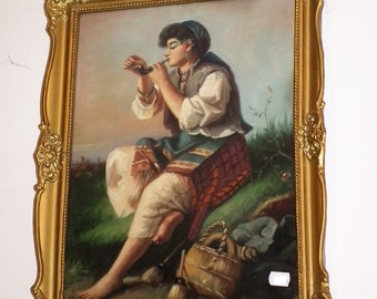 PAINTING Original Romany, Gypsy Folk Dressed Woman Smoking Pipe, Country Rustic Decor, Smoke Room, Hungarian, Vintage Old Art, Collectible