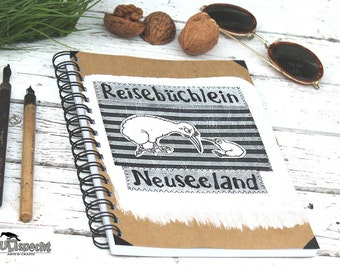 Design notebook, unique-gift, high-quality book gift, travel-notebook, sketchbook, spiral binding, New Zealand, Kiwis, Made in Germany