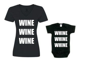 Mommy and Me Outfit / Mommy and Me Outfits / Mommy and Me Matching / WINE WHINE / Mom and Baby Set / Gift for Her / Baby Shower Gift