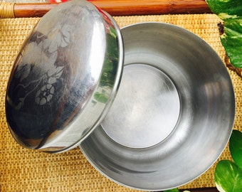 Vintage Silver Metal Aluminum Ice Bucket with Floral Design