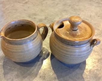 Handmade pottery sugar cream set creamer