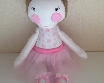 Ballerina Doll, girl doll, Ballerina fabric doll, girl gift, handmade doll, homemade doll, plush doll, stuffed doll, girl fabric doll, doll