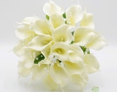 Artificial Wedding Flowers, Ivory/Cream Calla Lily Brides Bouquet Posy