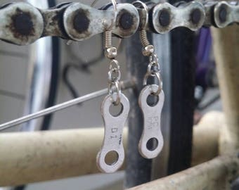 Bicycle Earrings - Bike Jewelry - Bicycle Jewelry - Upcycled Jewelry - Upcycled earrings - Bike Chain - Great gift for cyclist!