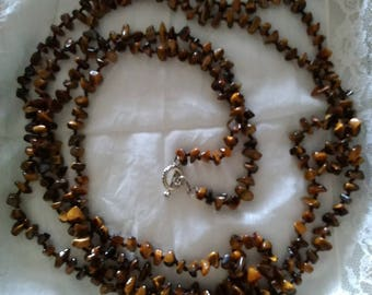 Tiger's Eye Chip Necklace with Sterling Toggle Clamp, 80 inches.