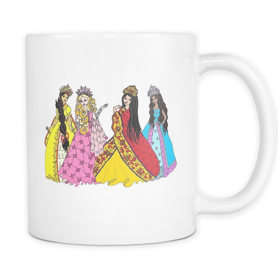 Princess Friends Talking Coffee Mug Asian Princess Latina Princess African American Princess Princesses