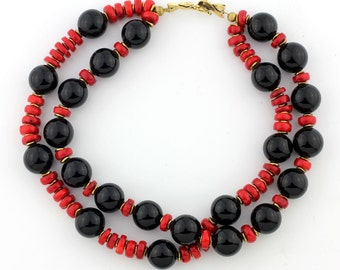 Black Onyx and Red Coral Necklace KO4328