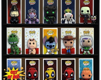Exclusive Stackable Funko Pop Display Toy Shelf for Vinyl Collectible Figures, Black Corrugated Cardboard (Toys not included)