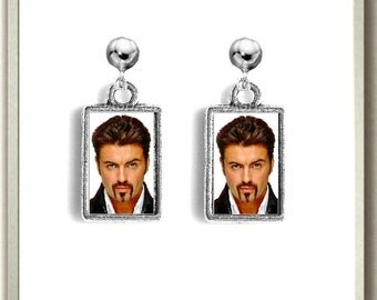 Silver Earrings,George Michael,Jewellery,Charm,Valentines Day Gift,Birthday Present,Easter Gift