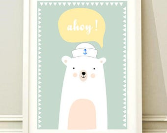 Nursery Wall Art Print, Kids Art Print, Animal Nursery Print, Modern Nursery Decor, Bear poster, Kids room