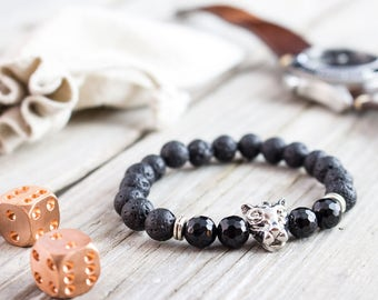 8mm - Black lava stone beaded silver Leopard head stretchy bracelet with faceted onyx beads, mens bracelet, womens bracelet