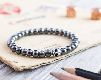 6mm - Hematite beaded stretchy skull bracelet, custom made yoga bracelet, mens bracelet, womens bracelet