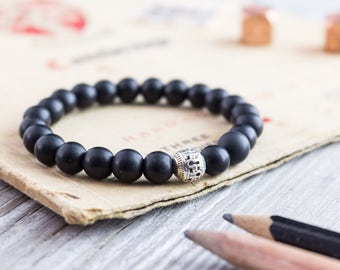 8mm - Matte black onyx beaded stretchy bracelet, mens bracelet, womens bracelet, onyx bracelet, black bead bracelet