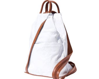 Italian Leather Backpack Shoulder Bag Handcrafted In Florence Italy in White & Tan 2061