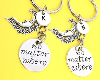 Love you to the moon and back customized keychain, initial moon and back charm, moon and back keychain, I love you - no matter where
