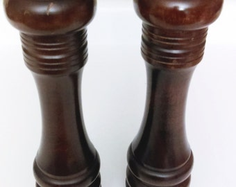 Extra Large Wood Pepper Mill and Salt Shaker Vintage 90's