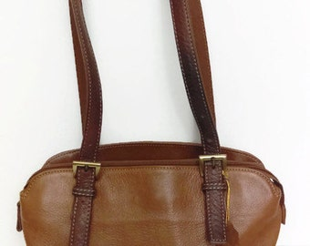 Vintage  Brown Leather Purse Sonoma Life and Style Shoulder Purse