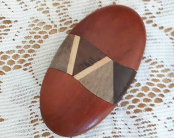 Vintage handmade oval hair clip | fascinator made out of four colours of wood