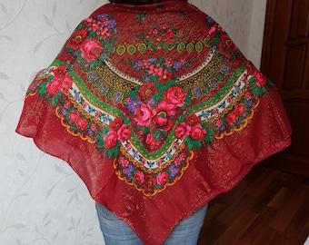 Large Floral Shawl, big lurex shawl, dark-red scarf, vintage Russian fine wool wrap, huge lightweight thin rustic shawl, Foulard Russe