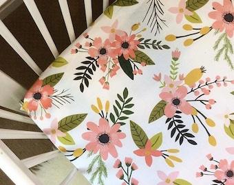 CRIB SHEET Coral and Blush pink floral custom printed crib sheet, baby bedding, modern nursery decor, crib bedding, fitted sheet, baby gift